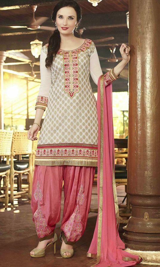 USD 31.53 Cream Cotton Jacquard Punjabi Suit 47493