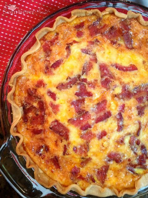 Bacon Cheddar Quiche is rich and creamy with a flakey crust. This savory pie will be one of your favorite go-to recipes in no time!.