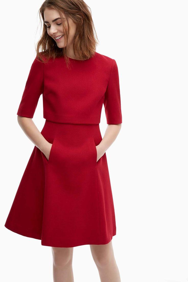 Vestido de piqué con silueta evasé - vestidos | Adolfo Dominguez shop online