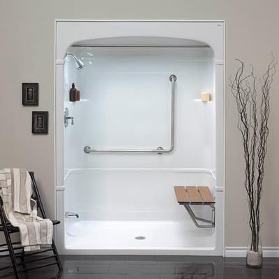 bathroom shower stalls on mirolin barrier free 1 piece shower stall with molded seat home