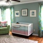 Such a calming nursery - the paint color is Quietude by Benjamin Moore. #nursery