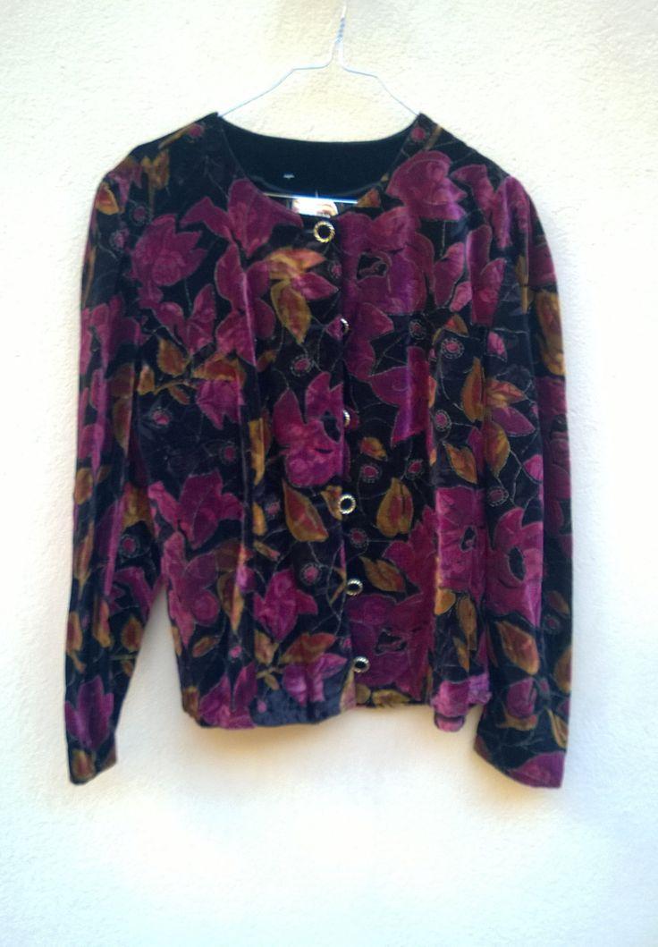 80s Vintage Jacket Bolero Velvet Purple 1980s VINTAGE JAcket Womens Vintage Blazer Purple Floral Printed Velvet Trending  size c 44. Large by VirtageVintage on Etsy