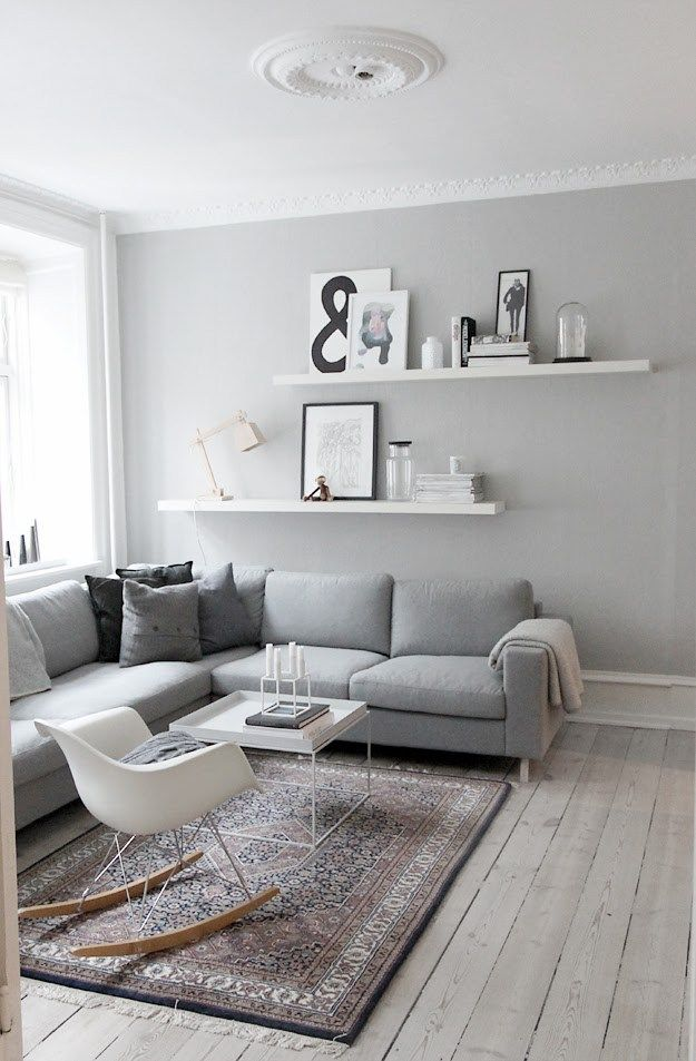 Scandinavian Blogger's Living Room minimalist modern marrocan white pale grey gray rocking chair