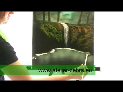 Olejomalba na mokré plátno - vodopád - Jana Laštovičková Grygarová