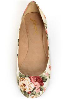 Cream Floral Fabric Ballet Flats