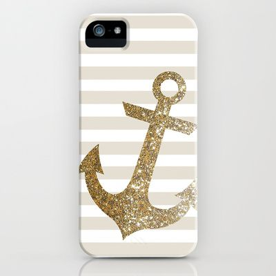 GLITTER ANCHOR IN GOLD iPhone & iPod Case