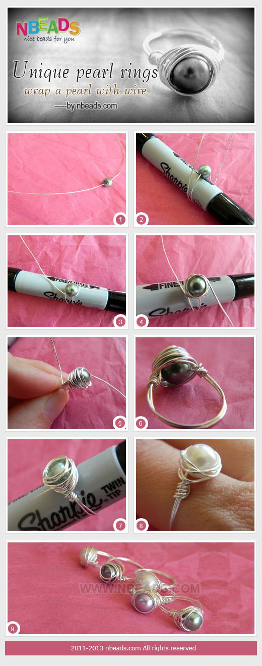 unique pearl rings - wrap a pearl with wire