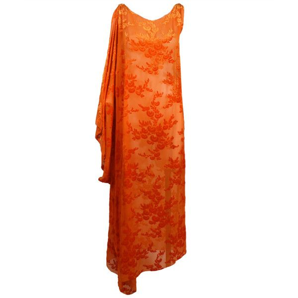 Pre-owned 1920's Burnout Velvet Asymmetrical Dress in Vibrant Orange ($1,200) ❤ liked on Polyvore featuring dresses, 1920s, vintage, 1920's, 20s dresses, day dresses, vintage dresses, orange dress, vintage 1920s dresses and floral print dress