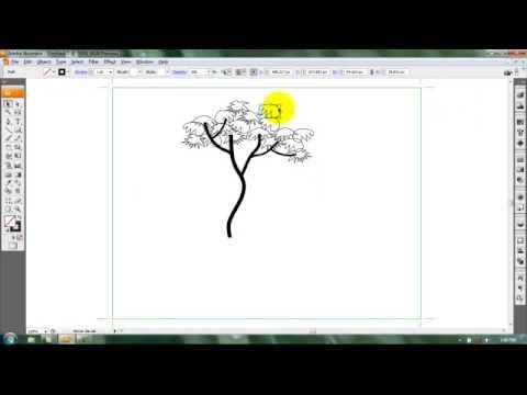 Adobe Illustrator Tutorial on how to draw a simple tree using Pencil Tool for beginer. Use ransform section to copy,rotate, and reflect the object.