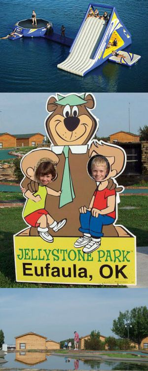 Yogi Bear's Jellystone Park on the shores of Lake Eufaula in Oklahoma is a great place for a family vacation!  They have cabins, a swimming pool, mini golf, water  toys on the lake and fun activities.