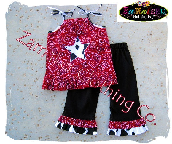 Girl Cow Outfit Pant Set Girl Farm Birthday by ZamakerrClothingCo