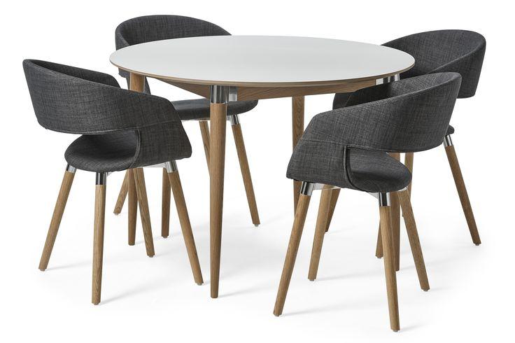 Acky är en modern matgrupp med retrokänsla. Bordet har skiva i reptålig lättskött högtryckslaminat och massivt underrede. Karmstolen har en skön komfort med stoppad sits och rygg klädd i ett slitstarkt tyg. Benen på både bord och stol har läckra metalldetaljer i formgjuten aluminium. Acky matgrupp passar in i de flesta moderna och skandinaviska hem. Serien Acky är designad av Hans Thyge & Co. Skanna QR-koden på din möbel för att få se en film med skötselråd.