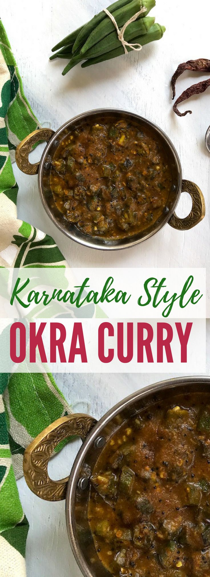 Recipe for Bendekai Gojju, a South Indian style Okra Curry made using seasonal fresh okra, in a tamarind base