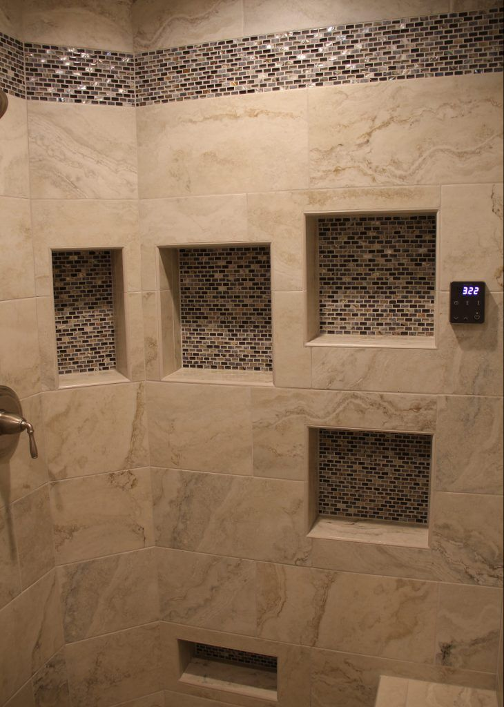 Natural Tan Tiled Shower With Brown Mosaic Tile Accent Strip And Niches Shower Tile Brown Tile Shower Mosaic Bathroom Tile