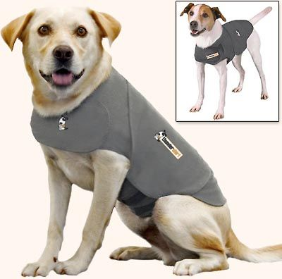 ThunderShirt Dog anxiety treatment for thunderstorm phobias and more. This works very well on most dogs to calm them down.