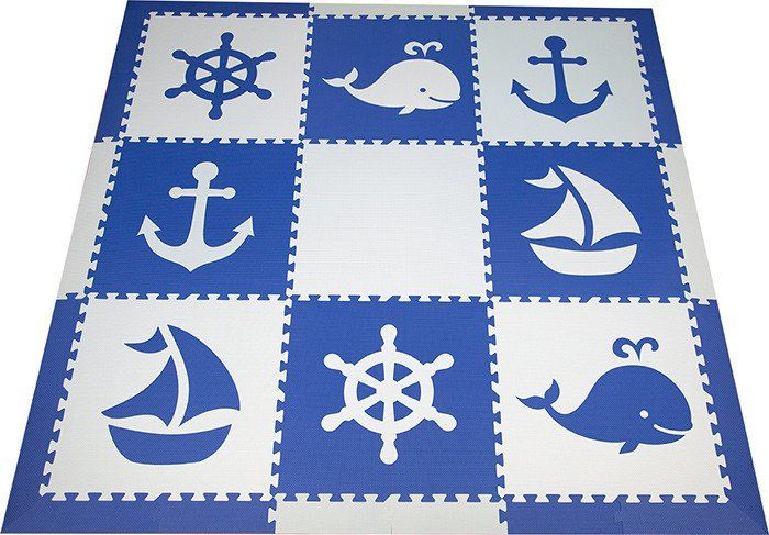 SoftTiles Nautical Children's Play Mat Set with Borders Blue and Light Blue