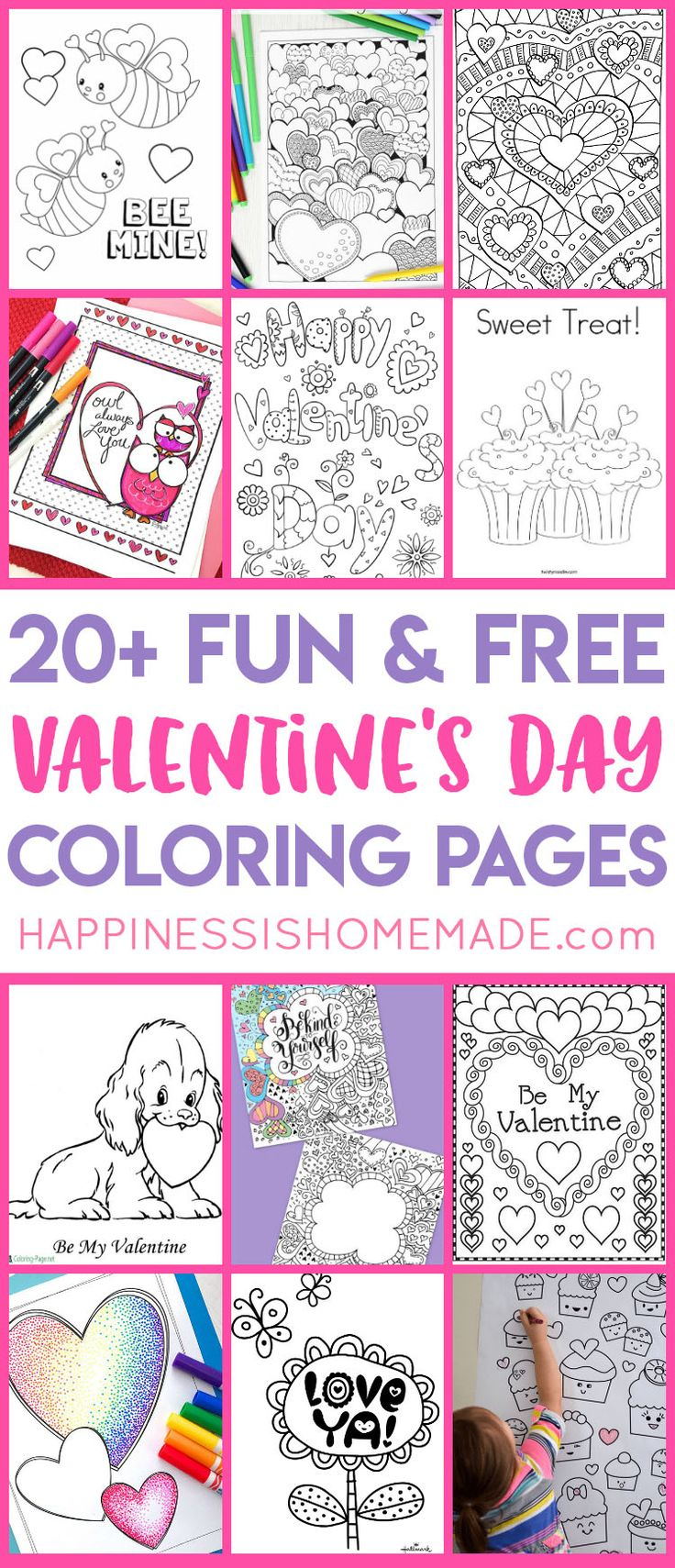 Looking for free printable Valentines Coloring Pages? These sweet Valentine's Day coloring pages for kids and adults are fun for all ages!