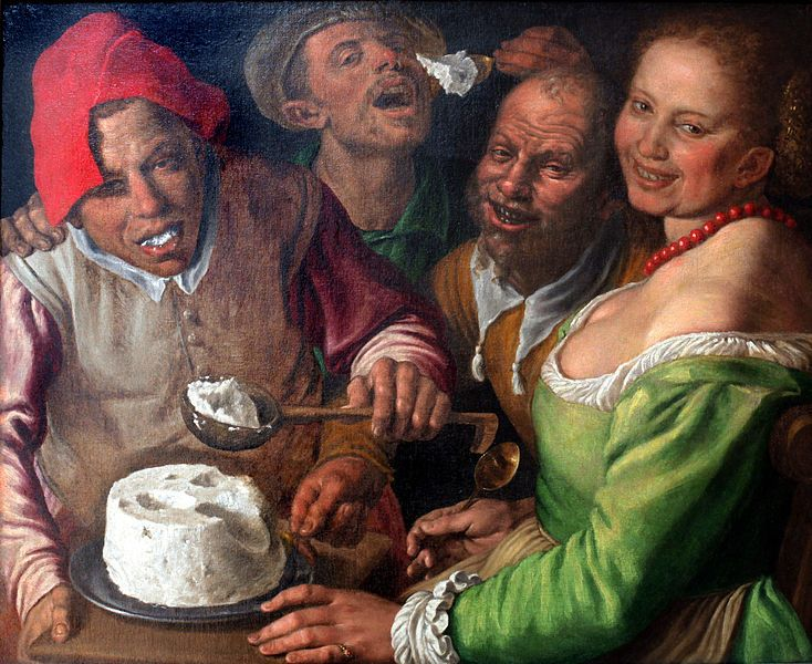 The Ricotta-eaters, 1580, Vincenzo Campi, Museum of Fine Arts of Lyon; the ricotta appears in the form of a skull, making this in part a vanitas painting.