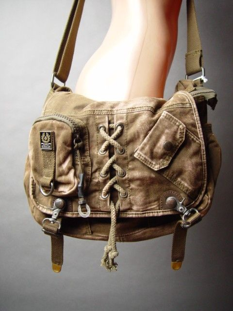 Unisex Steampunk Military Army Surplus Canvas Daypack Weathered Messenger fp Bag