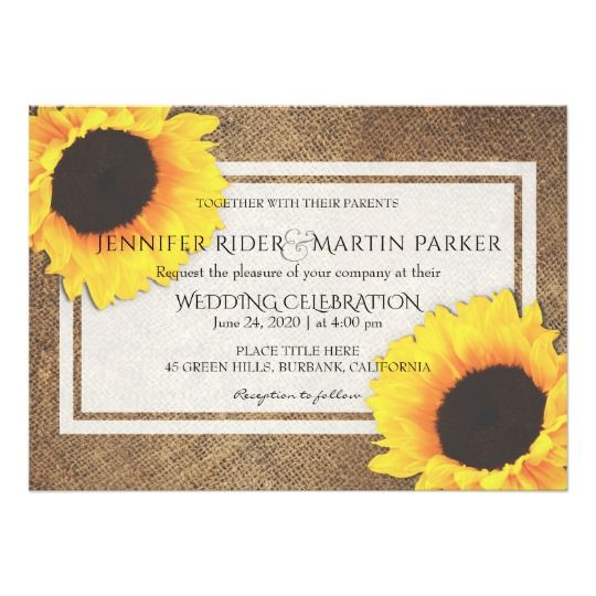 rustic sunflower wedding invitation sunflower wedding invitations