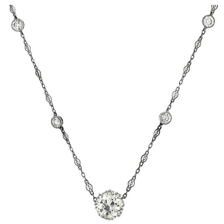 GIA Certified 4.19 Carat Diamond Single Stone Necklace and Diamond Platinum Chain