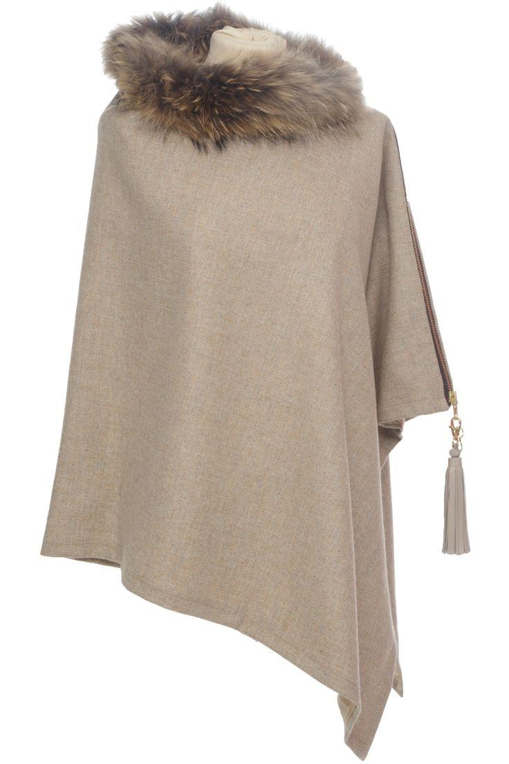 Holland-Cooper-Tweed and Fur Wrap (Malt)-321