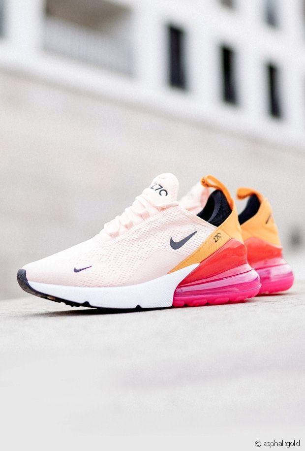 chaussure nike enfant garçon air max 270 blanc et orange confortable