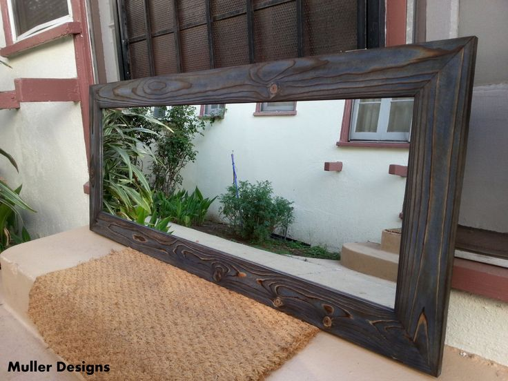 Wood mirror navy blue mirror / rustic mirror / mirror/ modern mirror/ full length mirror