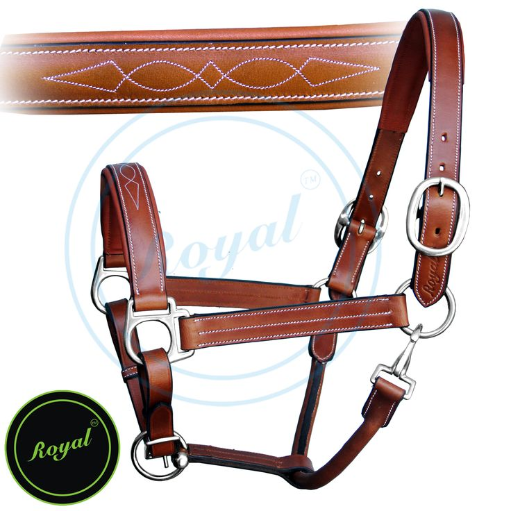 Royal Triple White Stitched Fancy Padded Halter. Regular price $78 Sale price $58 (Oak Brown/SS Buckles)