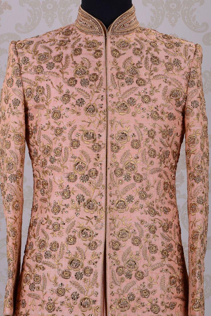 Wedding Sherwani-Pale Pink-Zari Work-SH269 - Sherwani - Men's Wear