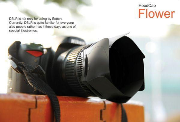 HoodCap Flower – Both a lens hood and a cap.