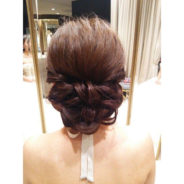 リボン編み込み. ヘアアレンジヘアスタイルヘアセット髪型ウェディング結婚式