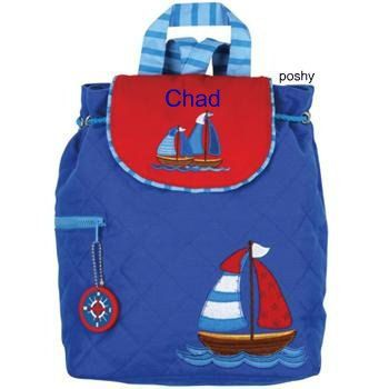 Love these little backpacks! Personalized Boys Diaper Bag or Backpack Stephen Joseph Nautical Sail Boat. $25.50, via Etsy.