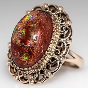 Mexican Fire Opal Cocktail Ring Bezel Set 14K Gold - EraGem