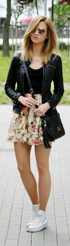 Floral Print Skirt with Leather Moto and White Sne...