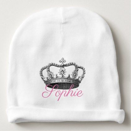 Vintage Crown Princess Personnalised Baby Beanie - baby gifts child new born gift idea diy cyo special unique design