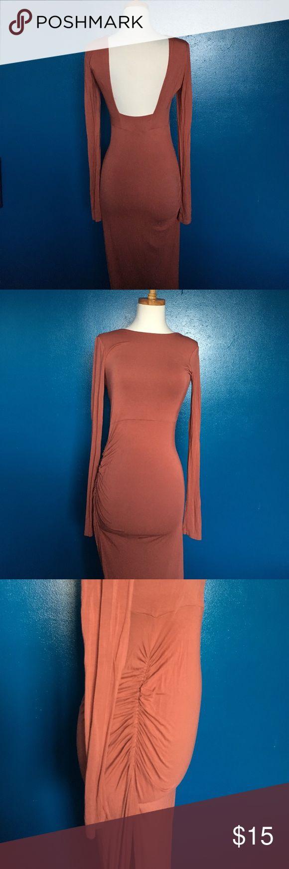 Backless long peach maxi dress Long cotton maxi Dresses Long Sleeve