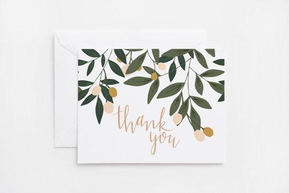 Thank You Card Set of 8  Illustrated Floral от PrintStitchAndPaste