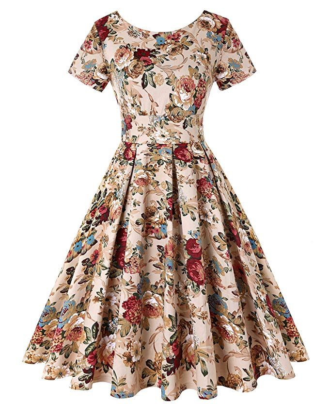 Roosey Womens 1950s Vintage Dresses Short Sleeve Rockabilly Cocktail Party Swing Dress Pattern 50s Fashion Dresses Cocktail Dress Vintage Sleeved Swing Dress