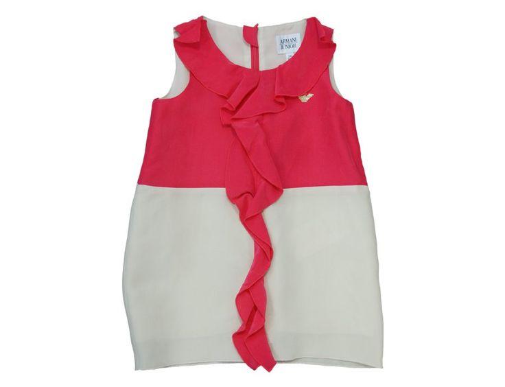 ARMANI JUNIOR Seiden Sommerkleid mit Rüschen Pink & Beige
