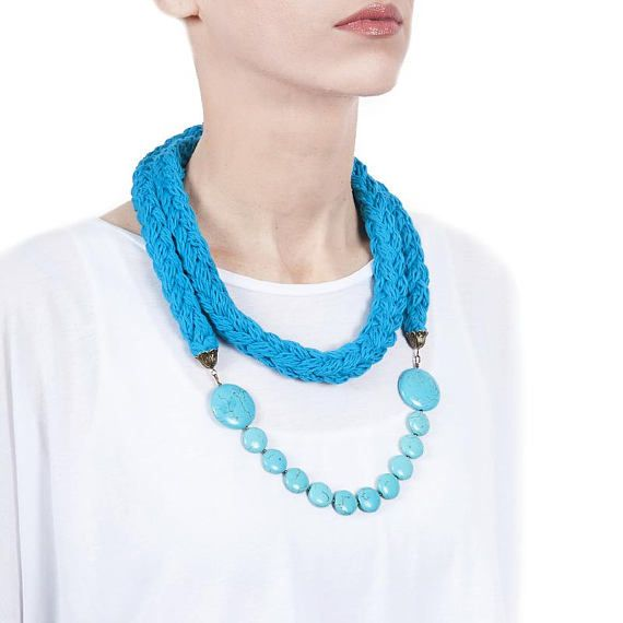 Long Statement Necklace, Turquoise necklace, Fashion necklace, Big necklace, Multilayer necklace, Knitted necklace