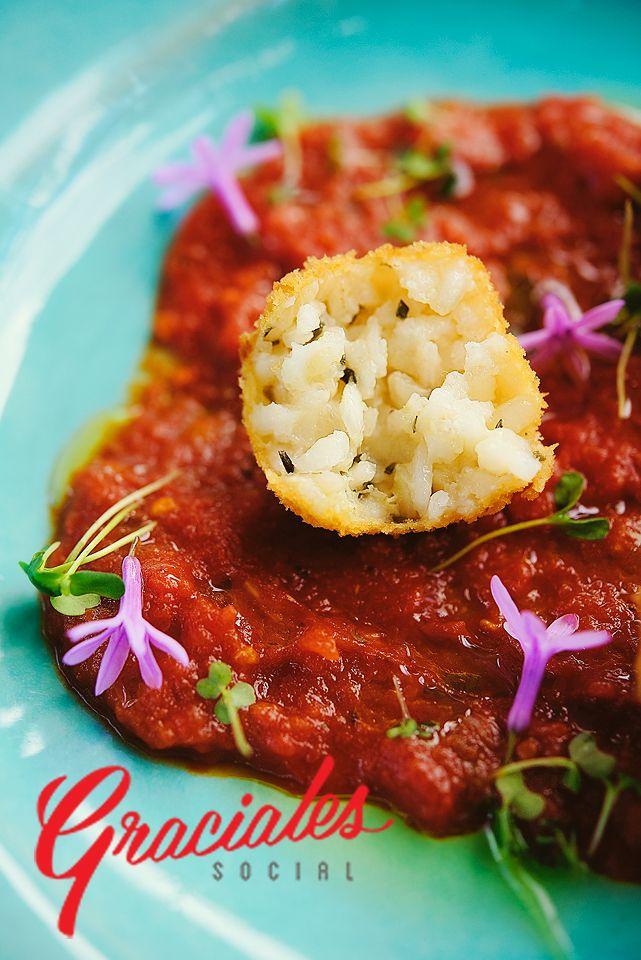 Golden crusted mushroom aracini balls in pomodoro sauce at Peddlars & Co.