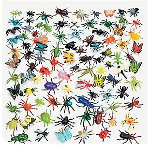 Just Buggy Bugs (24).  Your guests will love a first hand look at a variety of fascinating creepy crawly insect creatures!  This is an awesome assortment of creepy crawly plastic critters! These are great fun for bug enthusiasts, for use as table scatters or backyard scavenger hunts! Includes butterflies, ladybugs, spiders and other insects.  Plastic. (approx. 24 pcs. per pack)  2.54 cm -  5.08 cm  assorted colours/designs