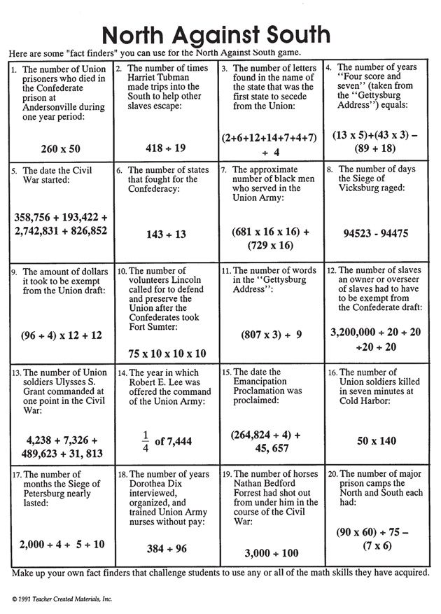 'North Against South' is a fun math worksheet to get kids to brush up their math skills. This worksheet lists many fascinating and interesting facts.