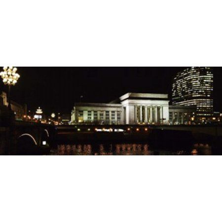Buildings lit up at night at a railroad station 30th Street Station Schuylkill River Philadelphia Pennsylvania USA Canvas Art - Panoramic Images (30 x 12)