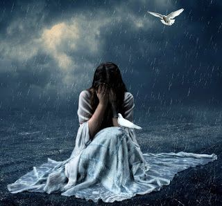 Lonely girl crying with tears in rain thinking of forgotten love and lost dreams | PIXHOME