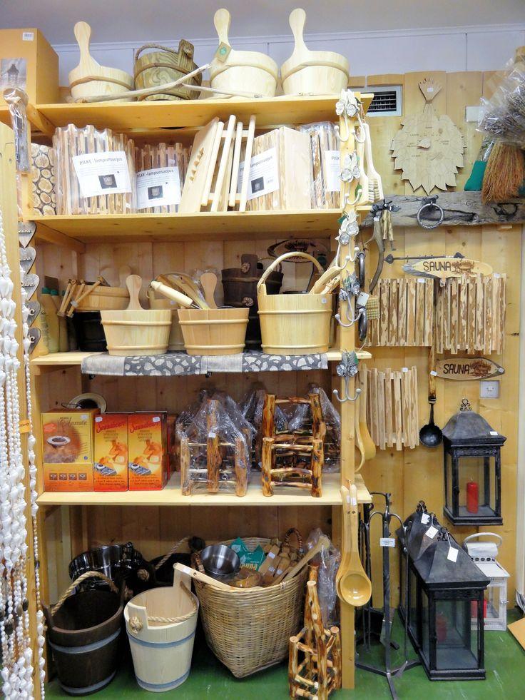 Different wooden sauna goods.
