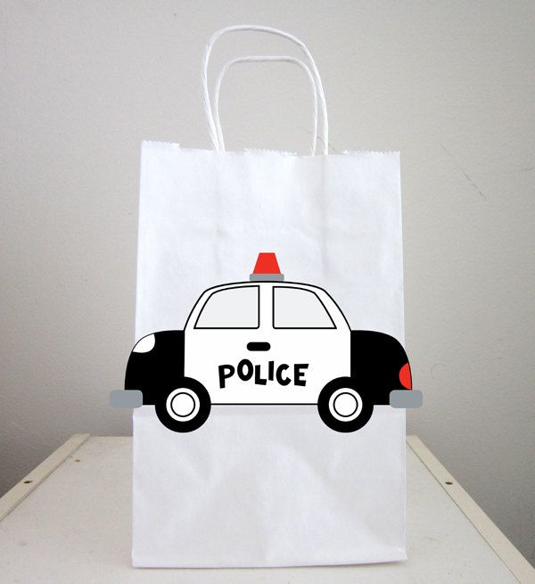Police Car Goody Bags, Police Car Favor Bags, Police Car Gift Bags, Police Car Birthday, Police Car Party Bags by CraftyCue on Etsy