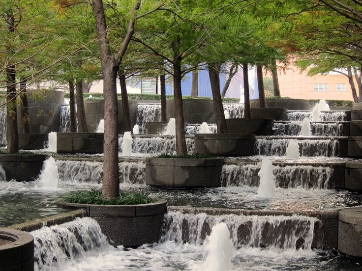Fountain Place in Dallas, Texas designed by Dan Kiley with Peter Ker Walker and WET Design.