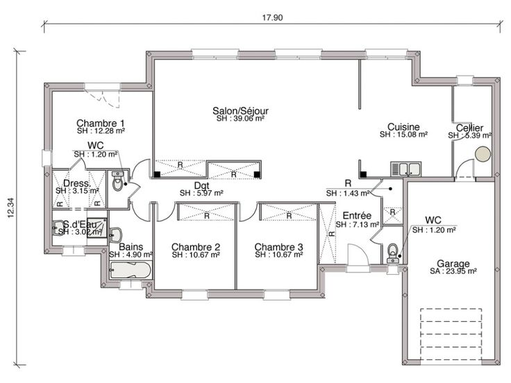 211 best plan maison images on Pinterest House design, Floor plans - plan de maison d gratuit